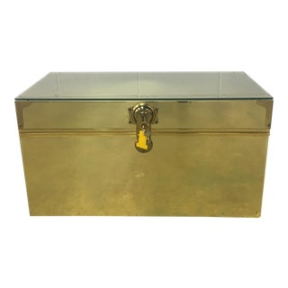 Dresher Cedar Lined Brass Trunk With Glass Top