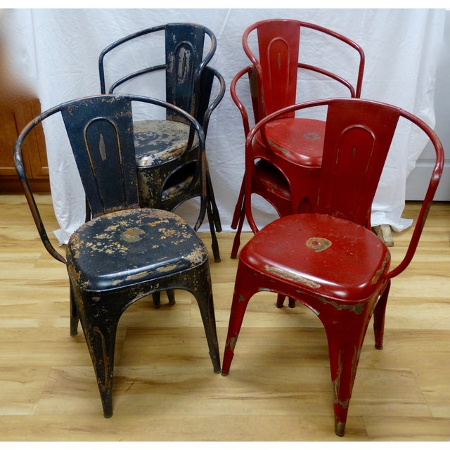 Antique French Bistro Black Red Chairs Set Of 6 Chairish