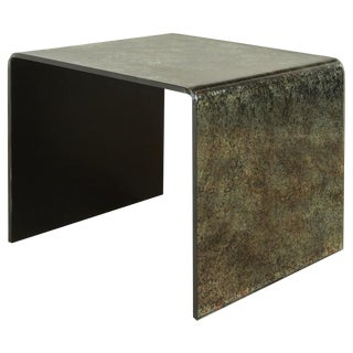 Waterfall Reverse Painted Glass Side Table