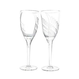 Lalique Paris - Angel Champagne Flutes,Vintage Pair of glasses -Signed