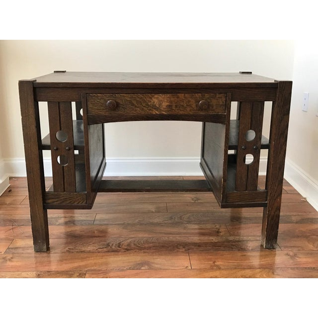 Antique Mission Oak Arts and Crafts Library Desk With Shelves - Image 2 of  10 - Antique Mission Oak Arts And Crafts Library Desk With Shelves
