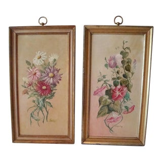 Shabby Chic Vintage Floral Paintings - A Pair