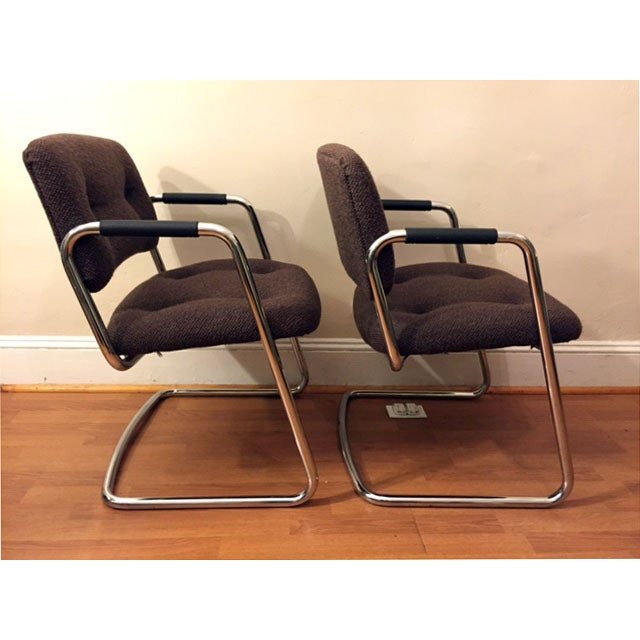 Image of Steelcase Brown Chrome Cantilever Chairs - A Pair