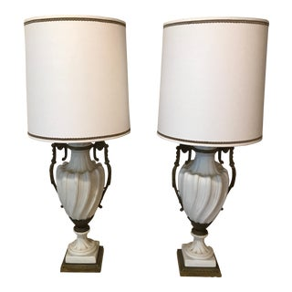 Vintage French Bisque Ivory & Gold Lamps - A Pair