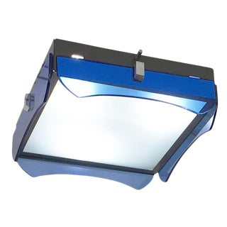 Square Veca Flush Mount with Blue Glasses