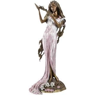 Polychrome Bronze Sculpture of a Woman Art Nouveau, Signed Ltd Edition by Ira B. Reines
