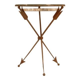 Striking French Petrified Wood & Steel Table w/Arrows as Legs