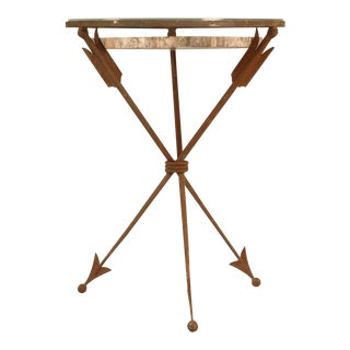 Striking French Petrified Wood & Steel Table w/Arrows as Legs