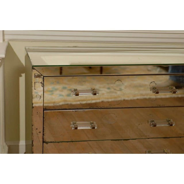 Mirrored Art Deco Three Drawer Chest with Brass Accents - Image 6 of 9
