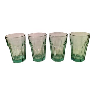 Mid-Century Modern Green Water or Cocktail Glasses- Set of 4