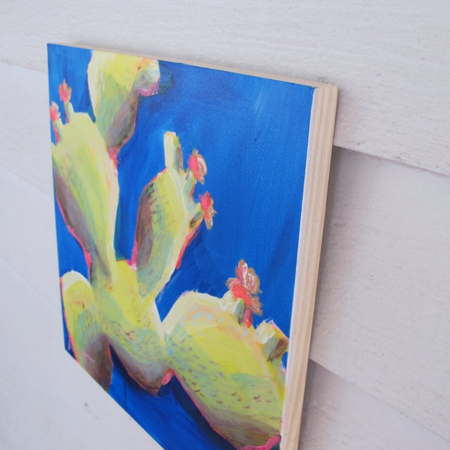 Image of Blue & Green Contemporary Mykonos Cacti Painting