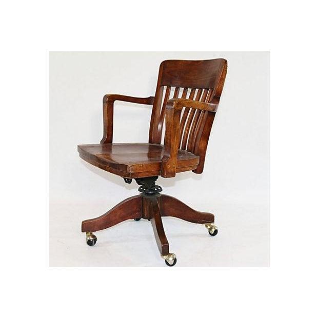 Vintage Solid Walnut Office Chair - Image 2 of 5
