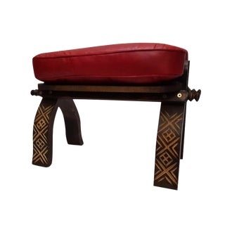 Red Moroccan Handmade Leather Bench