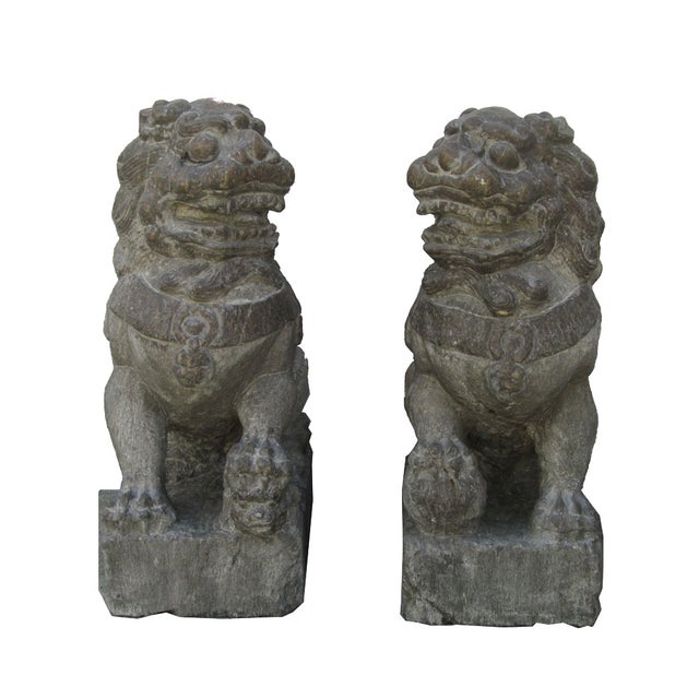 Vintage Stone Foo Dogs- A Pair - Image 1 of 6