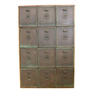 Antique Double-Sided Safety Deposit Box Cabinet