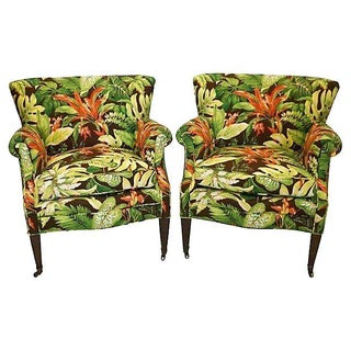 1940s Vintage Tropical Barkcloth Chairs - Pair