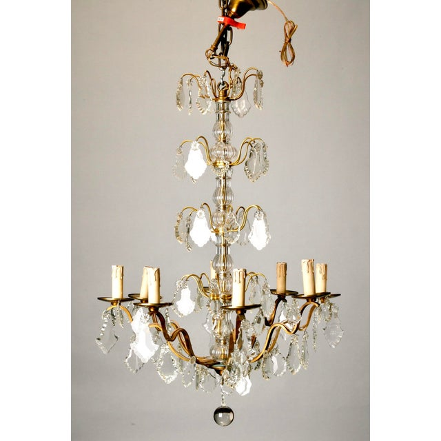 Image of French Eight Light Brass, Glass & Crystal Chandelier, C.1920