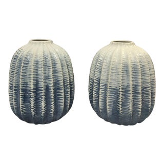 Ribbed Blue Ceramic Vases - A Pair