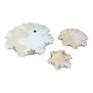 Fenton Hobnail Milk Glass Crimped Bowls - Set of 3