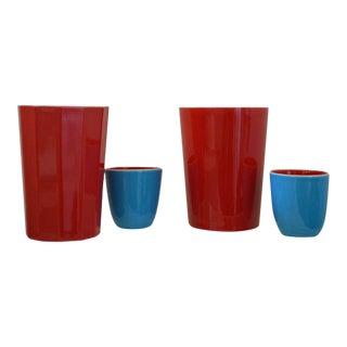 Japanese Fine Porcelain Sake Flask and Cups - Set of 4