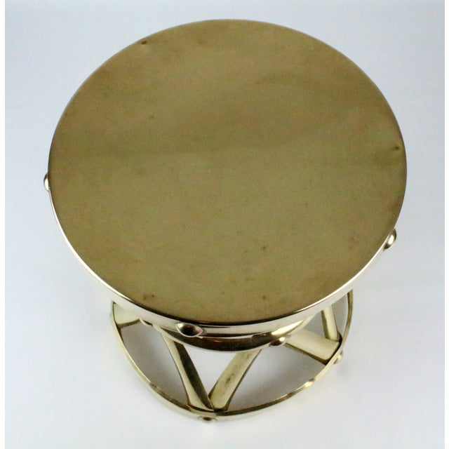 Mid Century Brass X Drum Stool - Image 4 of 8