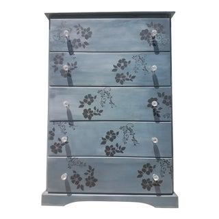 Floral Metallic Blue Dresser