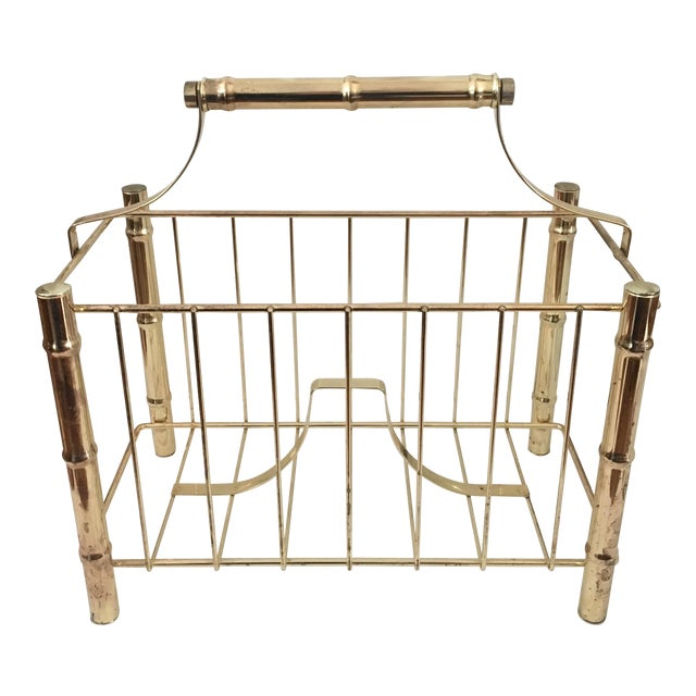 Vintage Brass Plated Faux Bamboo Magazine Holder - Image 1 of 10