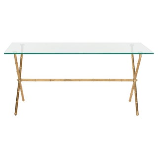 Clear Glass Top Coffee Table With Gold-Leafed Bamboo Style Iron Base