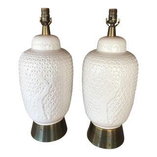 White Ceramic Lamps - A Pair