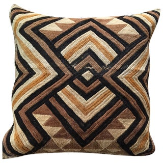 """Well-Traveled"" Kuba Cloth Pillow with Velvet Back"