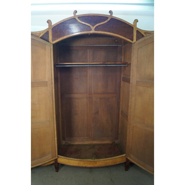 antique french art nouveau birdseye maple walnut armoire chairish. Black Bedroom Furniture Sets. Home Design Ideas