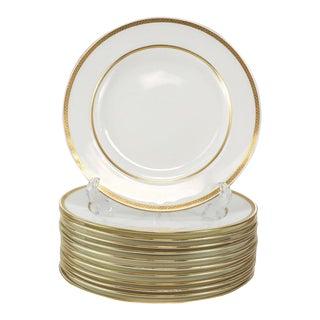1900s Minton Tiffany & Co. Porcelain Gold Band Dinner Plates - Set of 12