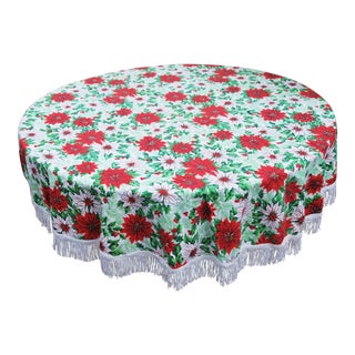 Vintage 1950's Round Christmas Tablecloth