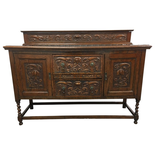 Antique Carved Wood Buffet - Image 1 of 10