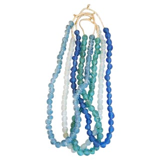 Blue & Turquoise Sea Glass Bead Strands - Set of 4