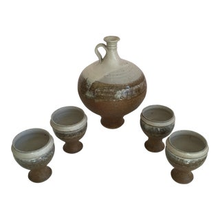 Handmade Brown Pottery Jug and Cup Set - Set of 5