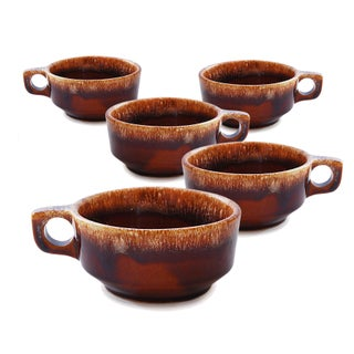 Brown Drip Glaze Chili & Soup Mugs - Set of 5