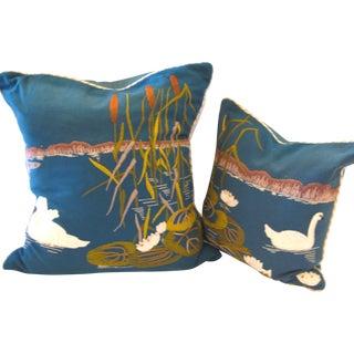 Embroidered Swan Woolen Pillows- A Pair