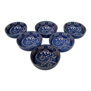 Blue Porcelain Bowls - Set of 6