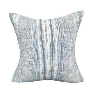 Light Indigo Tribal Batik Linen Pillow