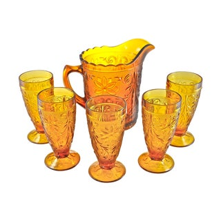 Vintage Golden Topaz Pitcher & Glasses - Set of 6