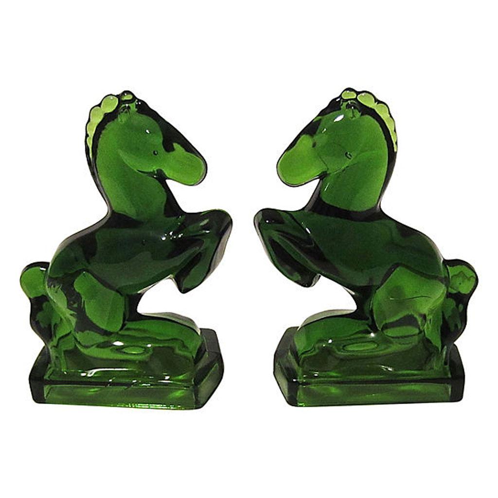 Emerald Green Glass Horse Bookends - A Pair | Chairish