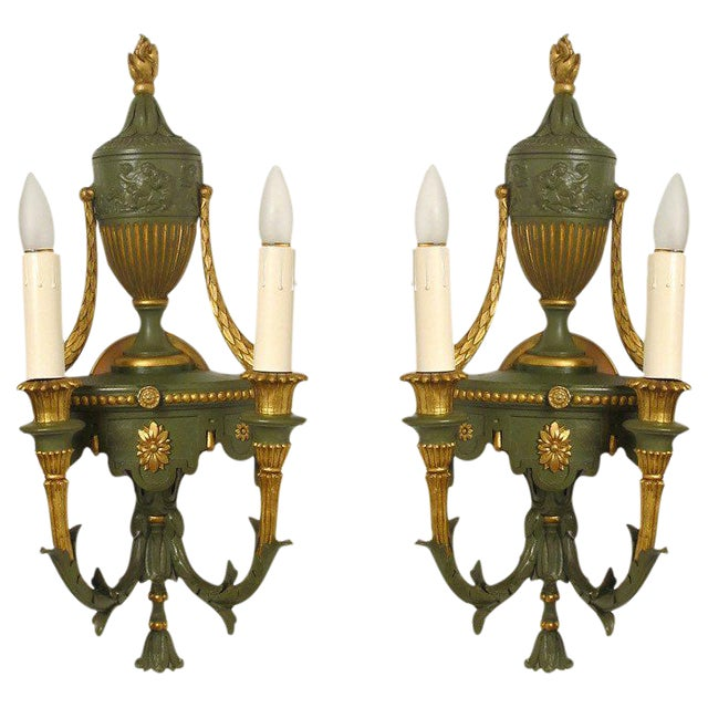 Gilt Metal Neoclassical Style Sconces - A Pair - Image 1 of 4