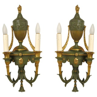 Gilt Metal Neoclassical Style Sconces - A Pair