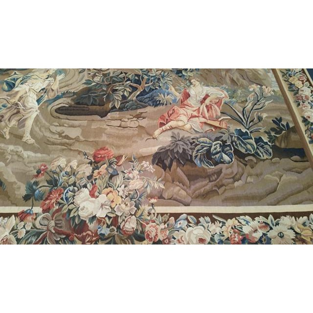 7′ X 9′8″ Silk & Wool Hand Woven Aubusson Tapestry - Size Cat 6x9 7x10 - Image 2 of 3