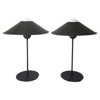 Black Table Lamps with Saucer Shades - A Pair