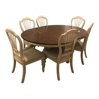 Pine Island Dining Table & Wheat Back Chairs