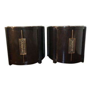 Marge Carson Monaco Demilune Bedside Chests - a Pair