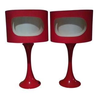 Art Deco Desk Lamps with Fiberglass Swirl Shades - A Pair