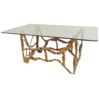 Mid-Century Modernist Dining Table in Sand Cast Bronze and Glass, USA circa 1975
